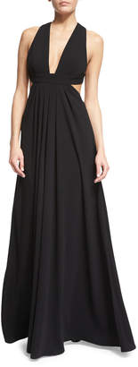 Jill Stuart Sleeveless Crisscross-Back Pleated Gown