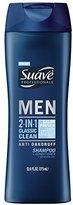 Suave Men 2 in 1 Shampoo and Conditioner, Classic Clean Anti Dandruff 12.6 oz