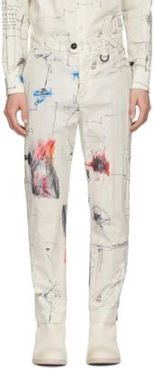 Isabel Benenato White Cotton Printed Trousers