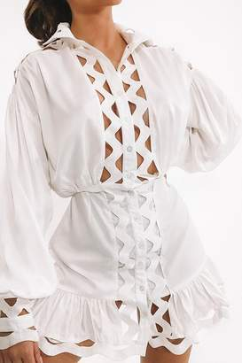 I SAW IT FIRST White Lace Trim Swing Shirt Dress