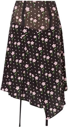 Sandy Liang Norman Floral-print Silk Crepe De Chine Skirt
