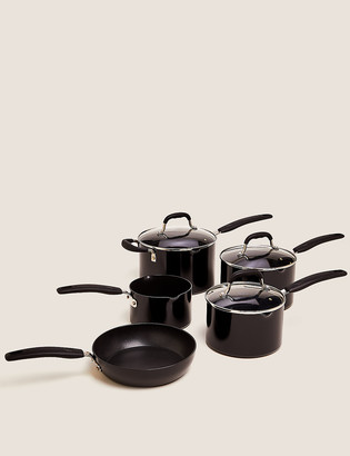 Marks and Spencer 5 Piece Black Aluminium Non-Stick Pan Set
