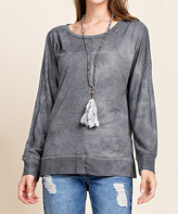 Blu Heaven Charcoal Slit-Sleeve Scoop Neck Pullover