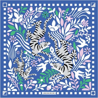 Jessie Zhao New York Silk Scarf Of Blue Tiger Stamp