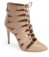 BCBGMAXAZRIA Bren Lace Up HIgh Heel Pointed Toe Cutout Single Sole Bootie (8.5, )