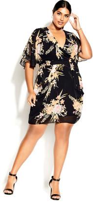 City Chic Grand Floral Dress - black