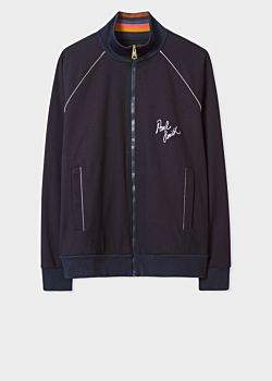 Men's Dark Navy Embroidered Track Jacket