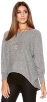 Quiz Light Grey 3/4 Sleeve Batwing Necklace Top