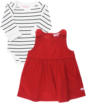 RuffleButts Girl's Corduroy Bow Overall Dress w/ Striped Bodysuit, Size 0-24M