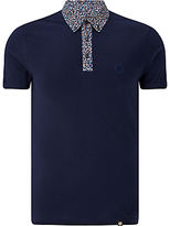 Pretty Green Reilly Print Polo Shirt, Navy