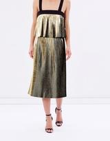 Foil Fringe Midi Skirt