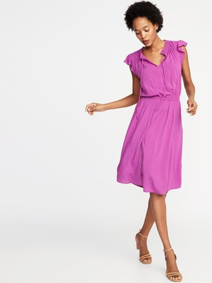 Old Navy Waist-Defined Tie-Neck Dress for Women