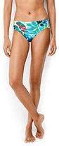 Lands' End Women's Mid Waist Bikini Bottom-Deep Sea Placed Tropical Leaf