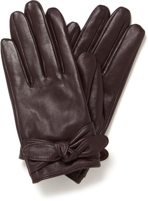 Forever New Tamika Tie Detail Leather Glove - Boysenberry - s m