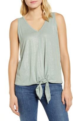Wit & Wisdom V-Neck Tie Waist Shimmer Sleeveless Top