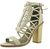 Cynthia Vincent Floral Women Open-toe Leather Nude Heels.