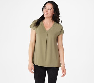 Halston H By H by Jet Set Jersey Extended Shoulder V-Neck Top with Pleats