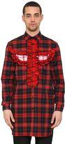 Givenchy Ruffled Totem Cotton Plaid Maxi Shirt