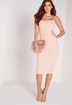 Missguided Petite Square Neck Midi Dress Nude