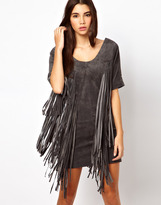 Asos Premium Dress In Suede With Fringe Detail