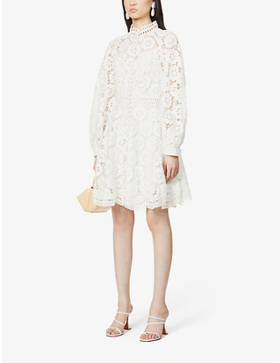 Zimmermann Bells floral-embroidered linen and cotton-blend mini dress