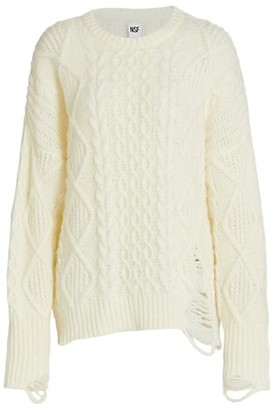 NSF Anabell Stretch-Wool Cable Knit Sweater