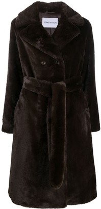 Stand Studio Faux-Fur Belted Coat