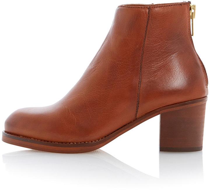 Dune **Packer Back Zip Block Heel Ankle Boots