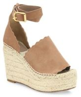 Chloé Lauren Suede Ankle-Strap Espadrille Wedge Sandals