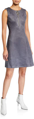 DKNY Sleeveless Zip-Front Faux-Suede Shift Dress
