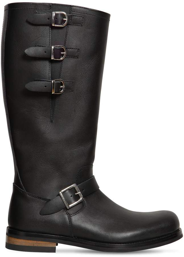 Moschino 40mm Leather Boots W/ Buckles