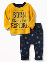 Old Navy 2-Piece Graphic Thermal Tee and Patterned Leggings Set for Baby