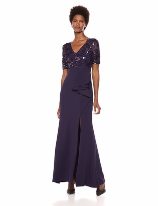 Adrianna Papell Women's Sleeveless Long Sequin Dress with Crepe Skirt