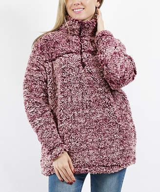 Lydiane Women's Pullover Sweaters BURGUNDY - Burgundy Sherpa Pocket Pullover - Women