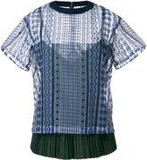 Sacai layered open embroidery T-shirt