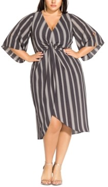City Chic Trendy Plus Size Phonic Stripe Twist-Front Dress