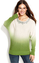 INC International Concepts Dolman-Sleeve Embellished Dip-Dye Sweater