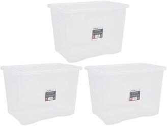 Wham Set of 3 80 Litre Plastic Storage Boxes