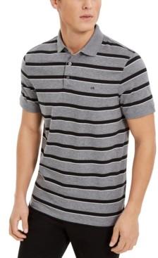Calvin Klein Men's Liquid Cotton Slim-Fit Stripe Polo Shirt