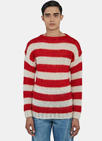 Gucci Men's Striped Mohair Knit Sweater In Red And White
