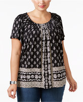 Style&Co. Style & Co. Plus Size Pleated-Neck Printed Top, Only at Macy's