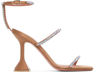 Amina Muaddi Brown Satin Gilda Crystal Heeled Sandals