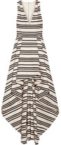 Alice + Olivia Aveena Asymmetric Striped Cotton-blend Gown - Cream