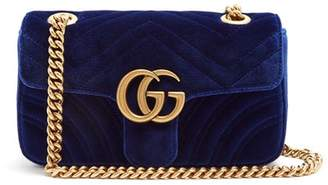 Gucci Gg Marmont Mini Quilted-velvet Cross-body Bag - Womens - Blue