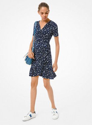 Michael Kors Floral Matte Jersey Ruched Dress