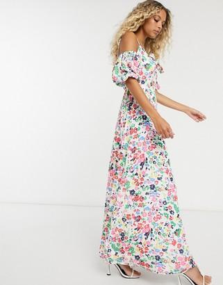 Twisted Wunder off shoulder maxi dress in floral