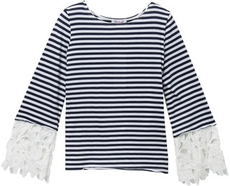 Ella Moss Striped Lace Long Sleeve Top