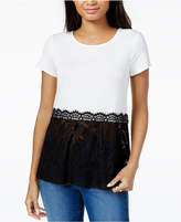 Maison Jules Peplum Lace-Hem Top, Created for Macy's