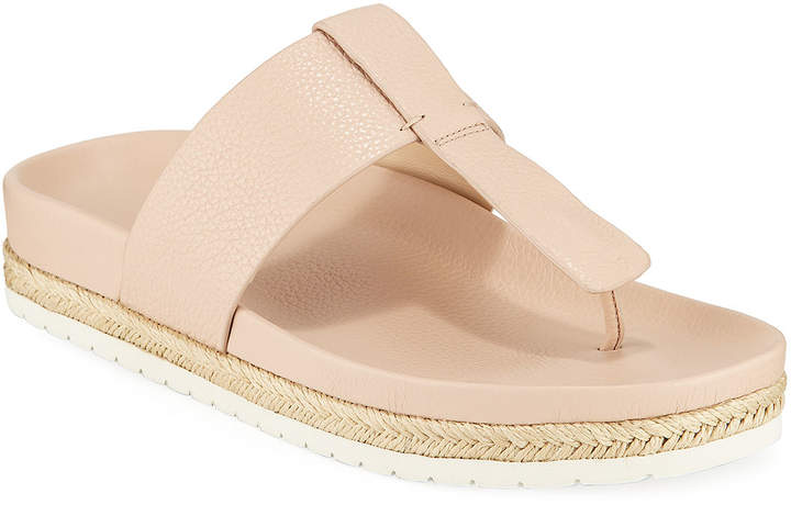 Vince Avani T-Strap Leather Espadrille Sandals