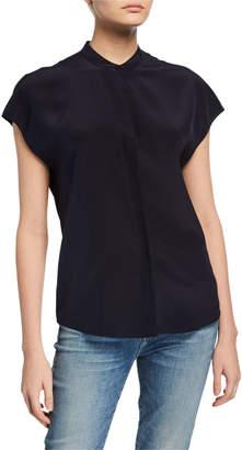 Vince Cap-Sleeve Back-Slit Button-Front Silk Blouse